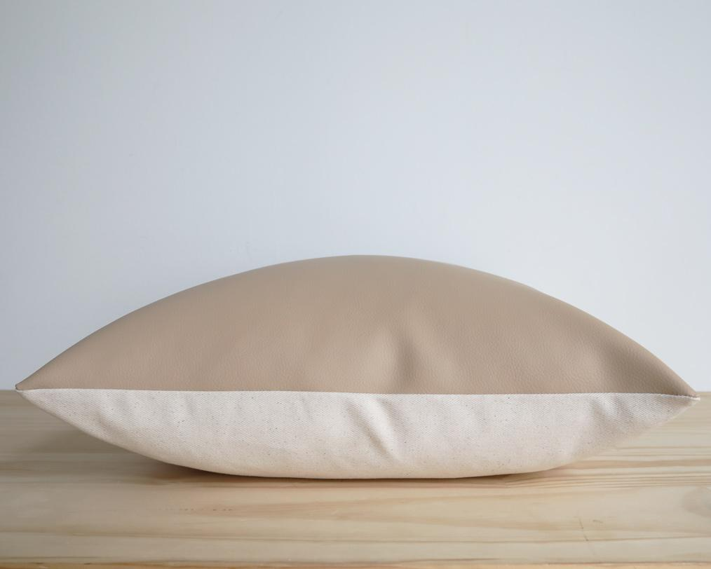 Naima, Matte Cream, Faux Leather Decorative Pillows Stitched By Grace