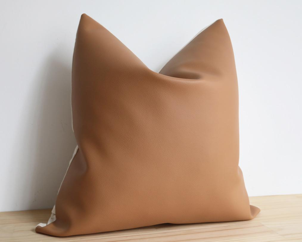 Naima, Matte Tan, Faux Leather Decorative Pillows Stitched By Grace