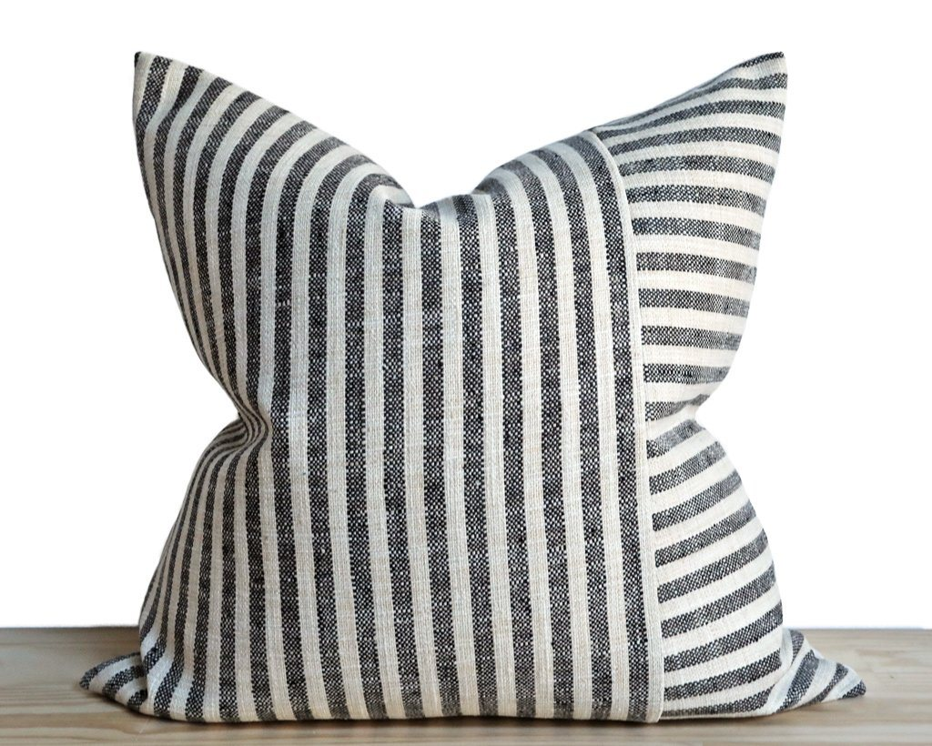 Perth, Alternating Charcoal Stripe Decorative Pillows Stitched By Grace