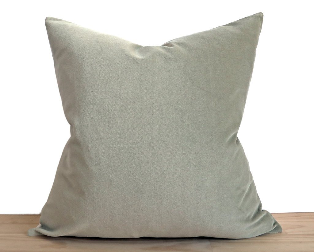 Velvet Pillow Cover, Sage Decorative Pillows Stitched By Grace