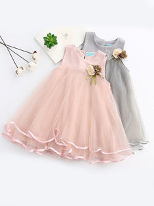 a-line toddler dress tulle flowers pastel