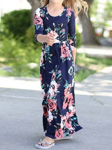 Navy Long Sleeve Maxi Dress