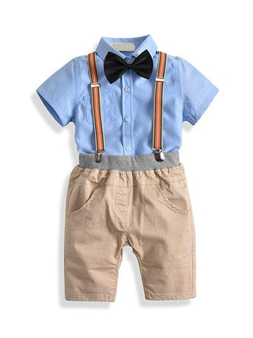 Albert. A four piece short-sleeved shirt and shorts set. Bowtie and suspenders are included.