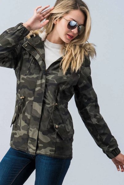 camo jacket with fur hood
