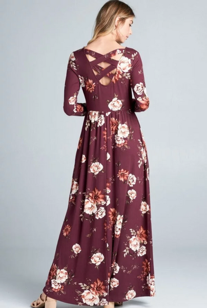 Long Sleeved Olive and Burgundy Maxi Dress with Strapped Back