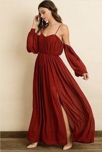 sweetheart neckline wine colored maxi dress