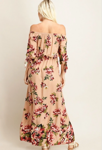 Floral Print Off the Shoulder Maxi Dress