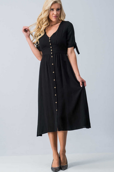 V-Neck Button Down Dress