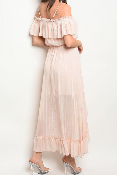 Ruffle Trimmed Off the Shoulder High Low Maxi Dress