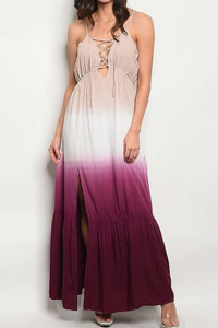 Lace Up Tie Dyed Layered Maxi Dress