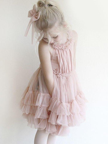 pink flowy dress for girl princess
