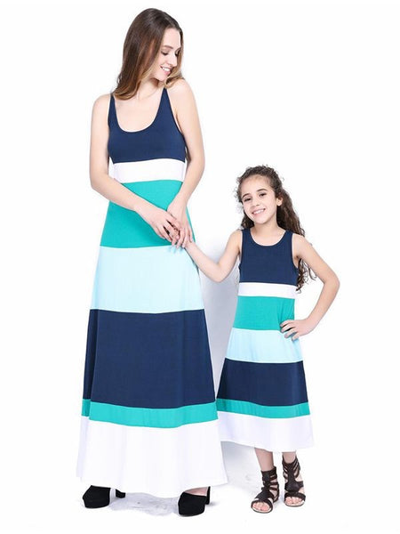 Mommy and Me Striped Maxi Dresses