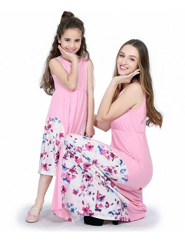 Mommy and Me Pink Maxi Dress