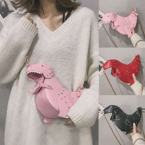 T-Rex Dinosaur Purse (Pink, Red, and Black)