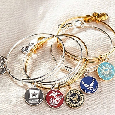 ALEX AND ANI bracelets for each branch of the armed forces
