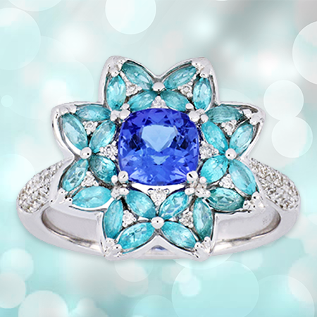 Tanzanite with Paraiba Tourmaline Ring