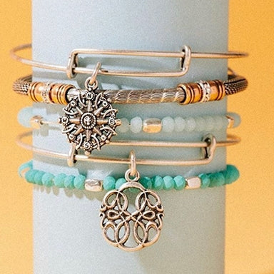 Three ALEX AND ANI charm bangles