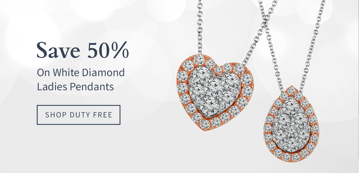 Save 50% On White Diamond Ladies Pendants