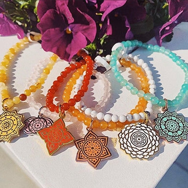 Six different colors of stretch bracelets