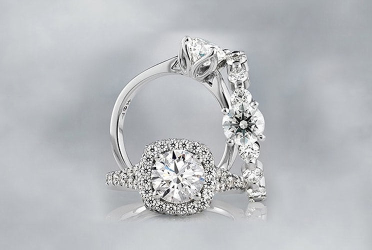 Three Hearts on Fire diamond engagement rings