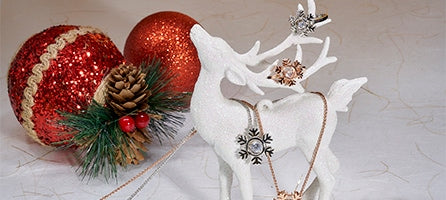 Reindeer with snowflake necklaces and rings