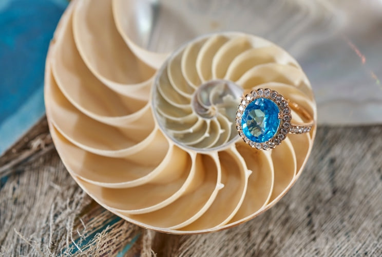 Ocean collection ring sitting on a shell
