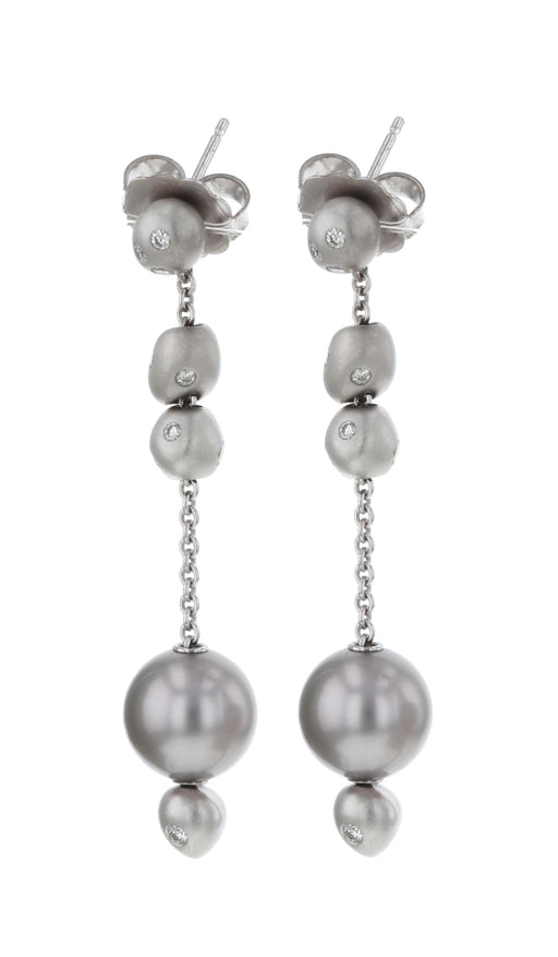 Golden Pearl Ladies Earrings (White Diamond 0.39)