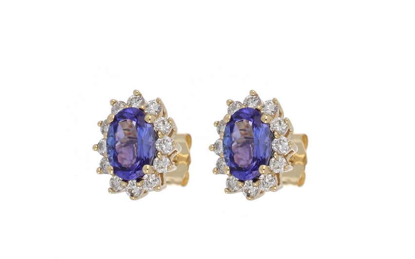 Tanzanite Ladies Earrings (Tanzanite 1.66 cts. White Diamond 0.56 cts.)