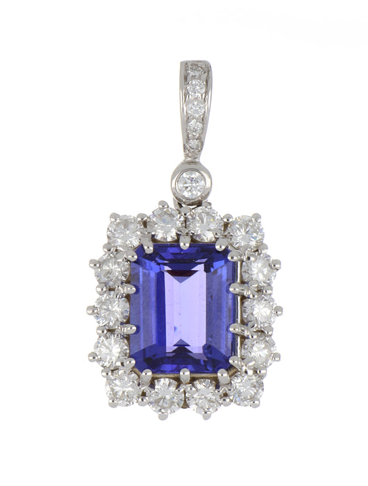 Tanzanite Ladies Pendant (Tanzanite 4.65 cts. White Diamond 1.65 cts.)