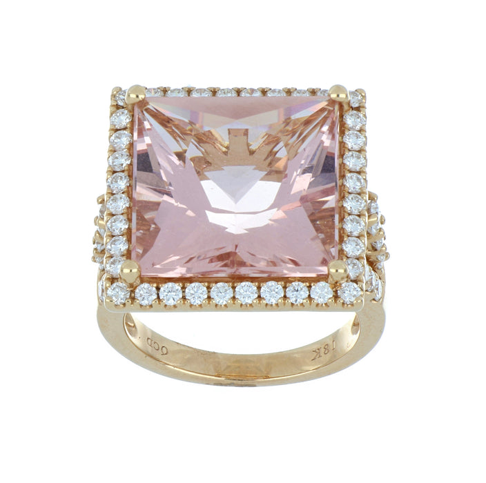 Morganite Ladies Ring (Morganite 14.06 cts White Diamond 1.45 cts.)