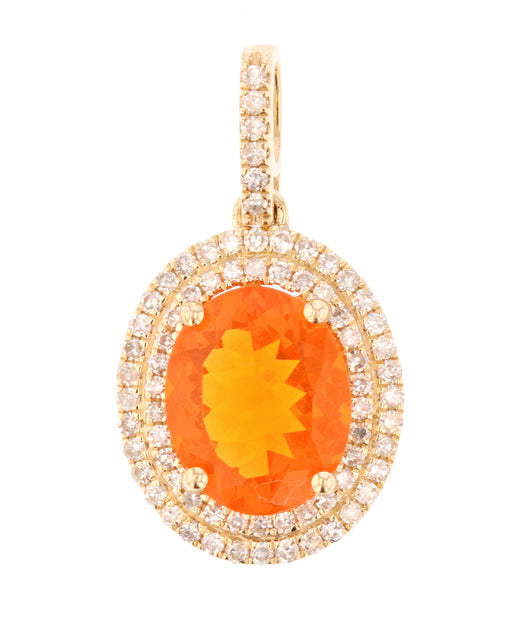 Fire Opal Ladies Pendant (Fire Opal 1.73 cts. White Diamond 0.34 cts.)