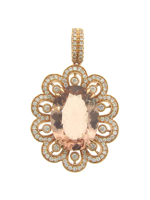 Morganite Ladies Pendant (Morganite 6.88 cts. White Diamond 0.71 cts.)