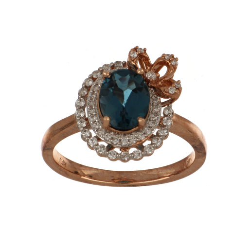 London Blue Topaz Ladies Ring (London Blue Topaz 1.5 cts. White Diamond 0.23 cts.)