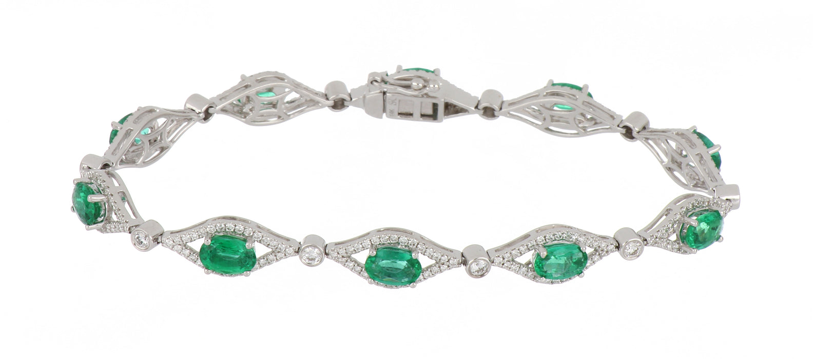 Emerald Ladies Bracelet (Emerald 4.1 cts. White Diamond 1.4 cts.)
