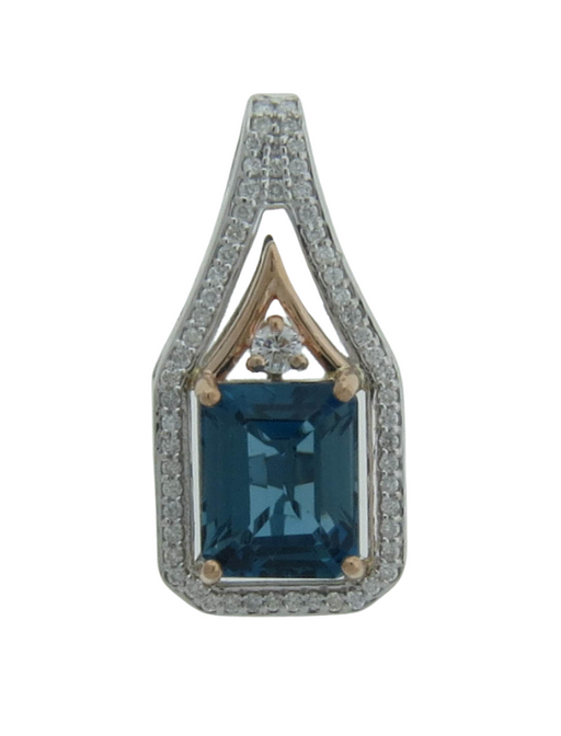 London Blue Topaz Ladies Pendant (London Blue Topaz 4.5 cts. White Diamond 0.34 cts.)