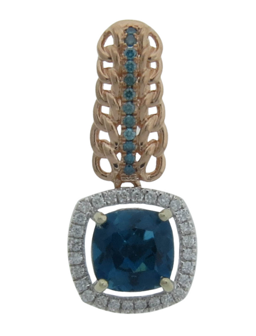 London Blue Topaz Ladies Pendant (London Blue Topaz 2.36 cts. White Diamond 0.2 cts. Blue Diamond 0.08 cts.)