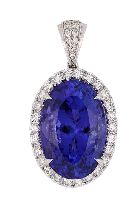 Tanzanite Ladies Pendant (Tanzanite 14.42 cts. White Diamond 0.76 cts.)