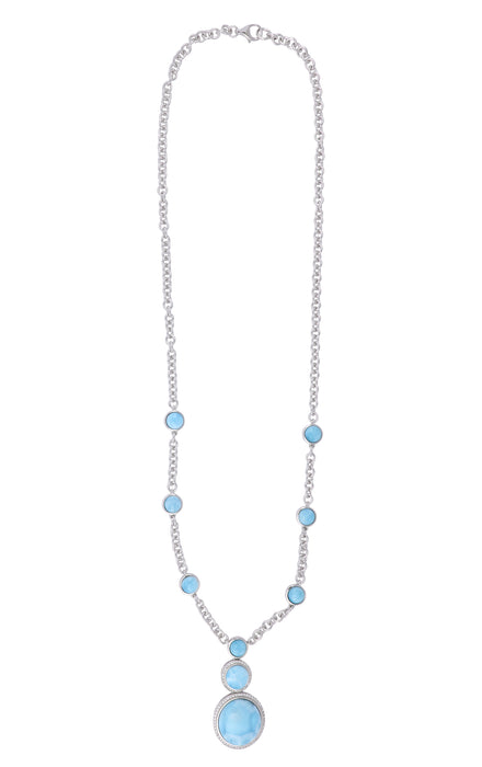 Larimar Ladies Necklace (Larimar Cubic Zirconia)