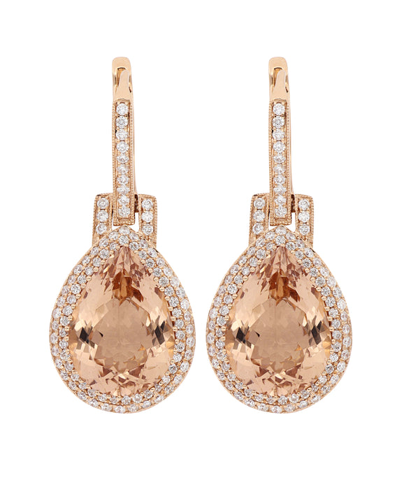 Pear Shaped Dangle Morganite and Diamond Earrings