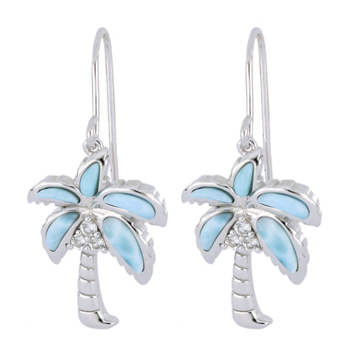 Larimar Palm Tree Ladies Earrings (Cubic Zirconia)