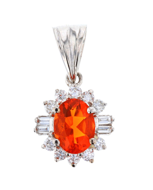 Fire Opal Ladies Pendant (Fire Opal 0.89 cts. White Diamond 0.3 cts.)