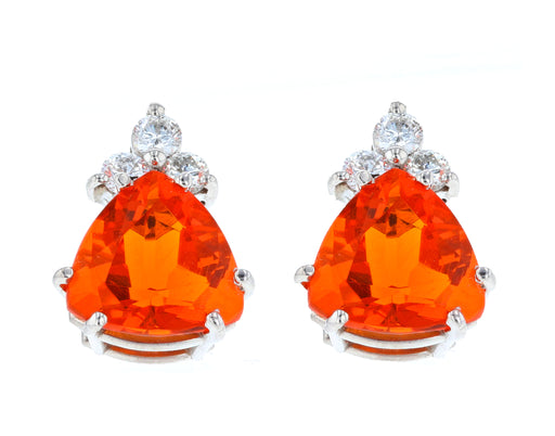 Fire Opal Ladies Earrings (Fire Opal 5.12 cts. White Diamond 0.5 cts.)