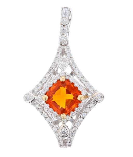 Fire Opal Ladies Pendant (Fire Opal 0.63 cts. White Diamond 0.4 cts.)