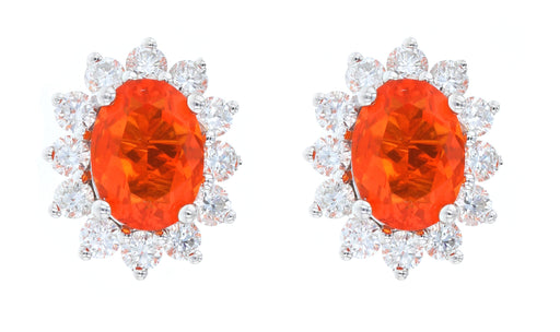 Fire Opal Ladies Earrings (Fire Opal 1.2 cts. White Diamond 0.54 cts.)