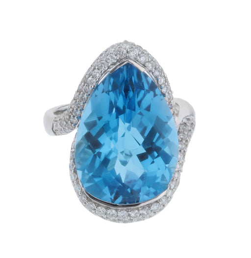 Blue Topaz Ladies Ring (Blue Topaz 19.21 cts. White Diamond 1.23 cts.)