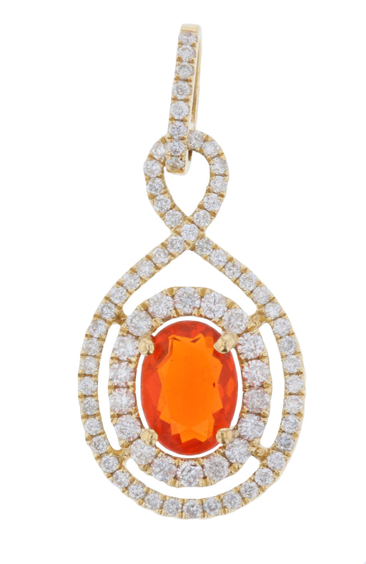Fire Opal Ladies Pendant (Fire Opal 0.55 cts. White Diamond 0.42 cts.)