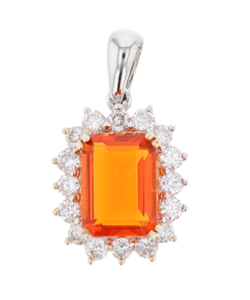 Fire Opal Ladies Pendant (Fire Opal 1.08 cts. White Diamond 0.36 cts.)