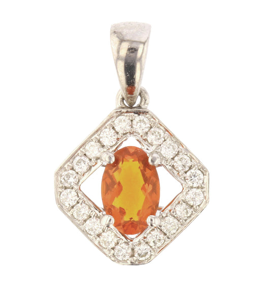 Fire Opal Ladies Pendant (Fire Opal 0.28 cts. White Diamond 0.16 cts.)