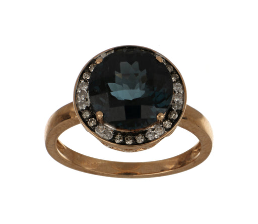 Blue Topaz Ladies Ring (Blue Topaz 5.54 cts Brown Diamond 0.10 cts White Diamond 0.09 cts )