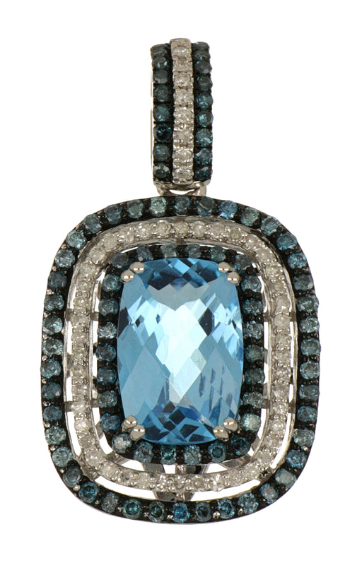 Blue Topaz Ladies Pendant (Blue Topaz 4.23 cts. White Diamond 0.34 cts. Blue Diamond 0.88 cts.)